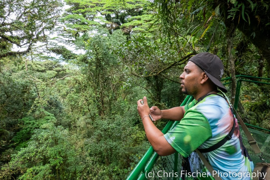 """Chambita"" Romero on the Hanging Bridges Trail at Las Heliconias Rainforest Lodge, Bijagua, Costa Rica"